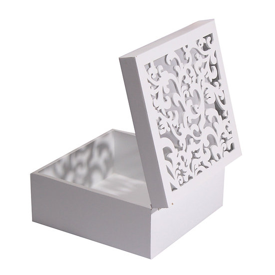White Wooden Decorative Boxes with Glass Top - Set of 3.