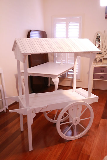 Custom-Made White Wooden Cart