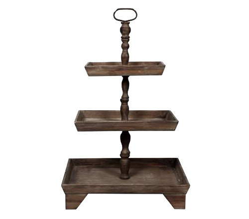 Rustic Three Tiered Wooden Dessert Stand