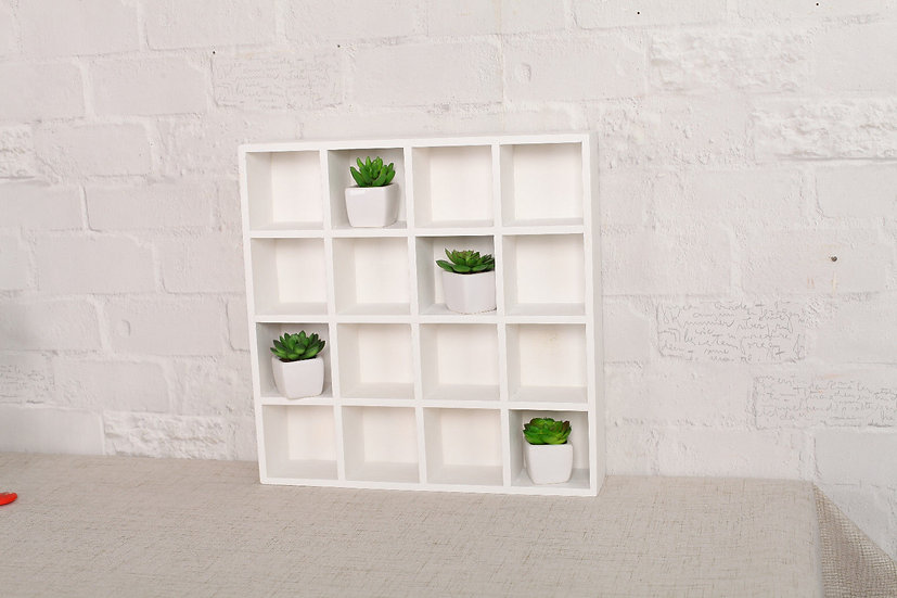 White Wooden Display Shelf - 16 Compartments