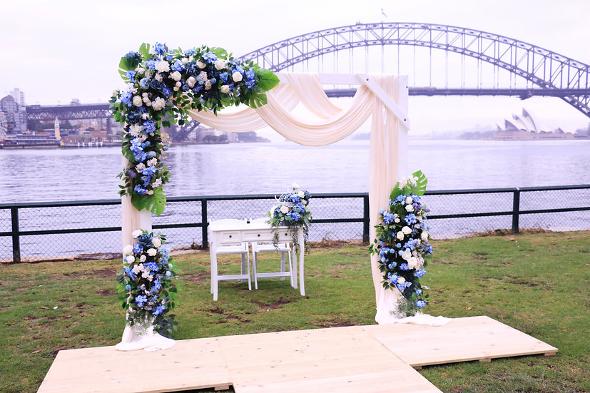 Large White Wooden Arbor
