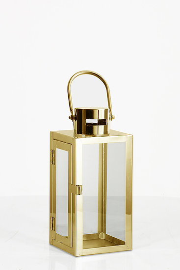 Gold Metal and Glass Lantern (Medium)