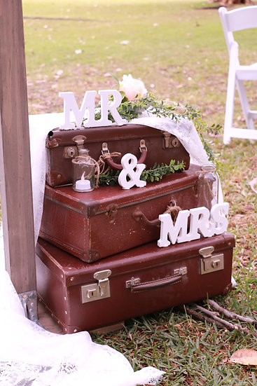 Authentic Vintage Brown Suitcases - Set of 3