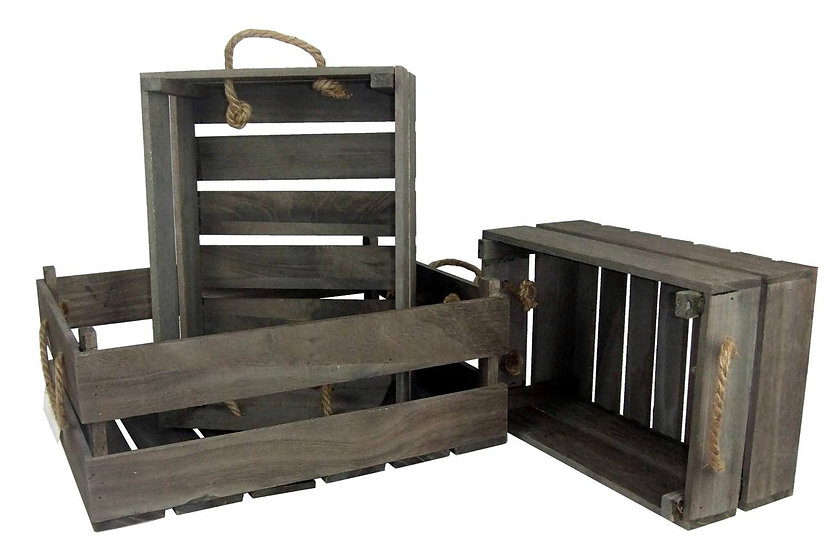 Grey/Brown Wooden Decorative Nesting Crates - 3 Sizes