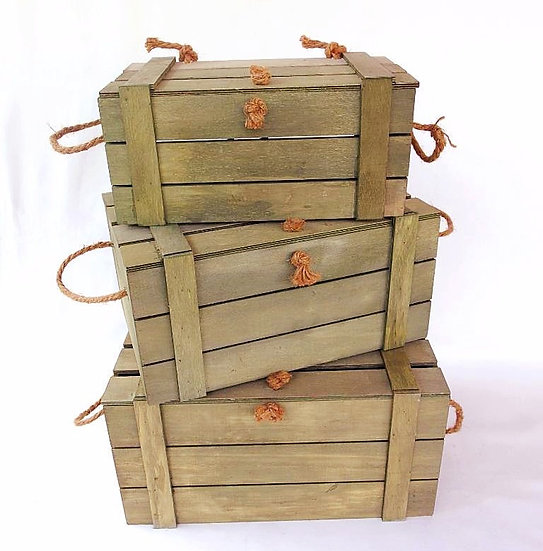 Rustic Brown Wooden Crates with Lids - 3 Pieces
