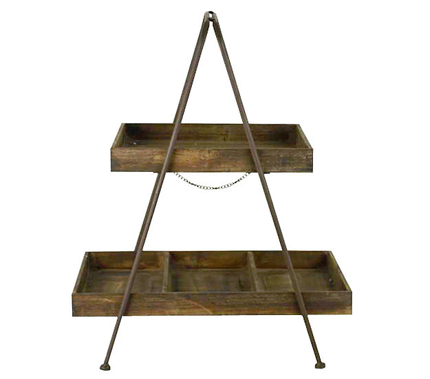 Rustic Wooden Rectangular 2 Tier Tray Stand