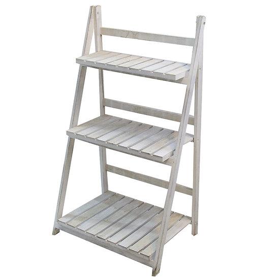 White Wooden 3 Tier Ladder Shelf