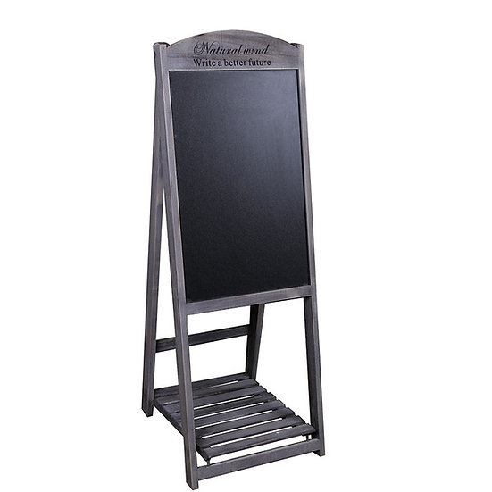 Dark Grey Wooden Chalkboard Stand with Shelf