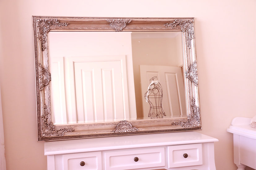 Silver Large Bevelled Wall Mirror & Frame - 110 cm x 80 cm