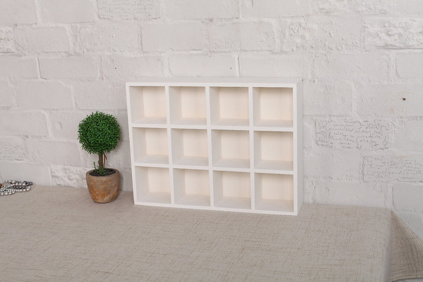 White Wooden Display Shelf - 12 Compartments