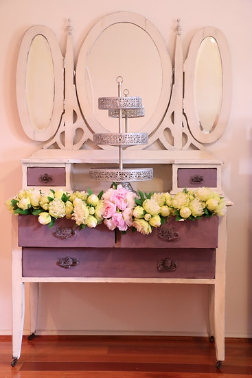 Vintage White and Lilac Mirrored Dresser Console