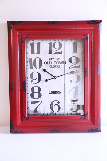 Vintage Style Red Old Town London Clock