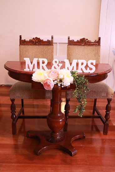 Vintage Brown Half Moon Signing Table / Console