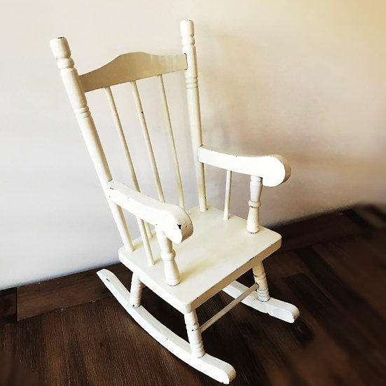 Vintage White Toy Size Wooden Rocking Chair