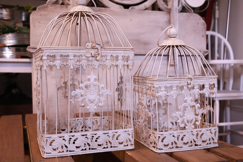 Square Bird Cages Card Boxes - Set of 2