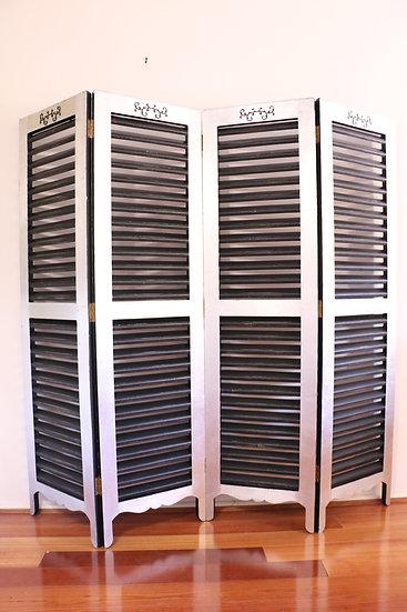 Large Parisian Style 4 Panel Screen - Black & Silver Leaf