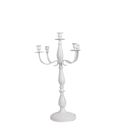 White 5 Arm Metal Vintage Candelabra