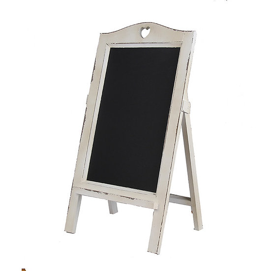 White Wooden Chalkboard with White Heart