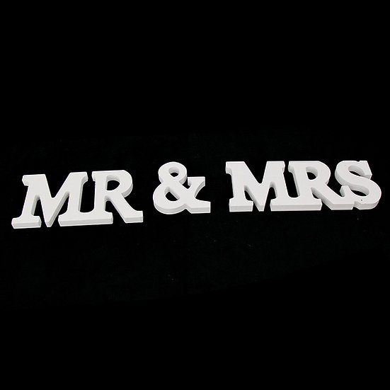 "White Wooden ""Mr & Mrs"" Letters"