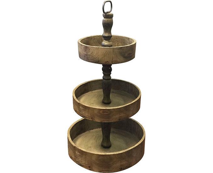 Rustic Wooden Three Tiered Round Dessert Stand