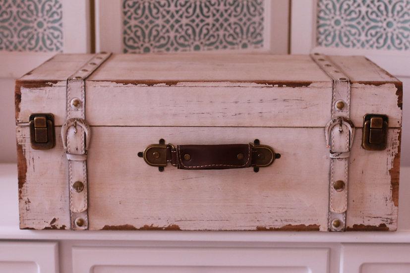 Hampton Style White Wooden Suitcase -Large