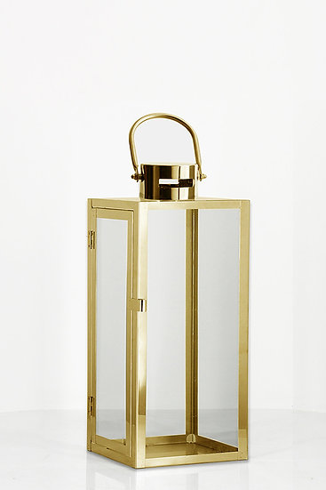 Gold Metal and Glass Lantern (Large)