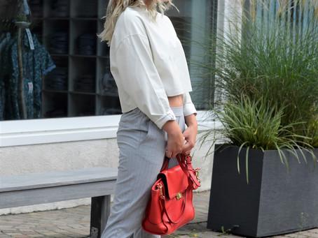 Outfit: graue Tailoring Jogger und weißes Crop Top aus Leder