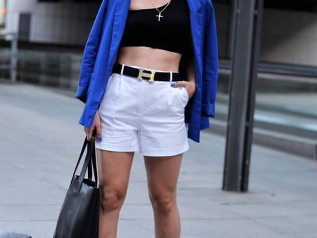 Outfit: Lace-up Sandalen und Blazer