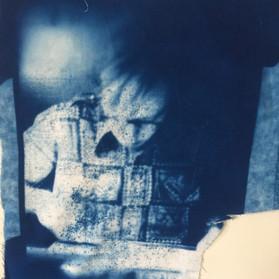 Sampling cyanoprints on fabric.