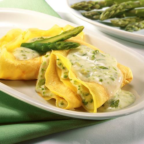 Crespelle ripiene con asparagi, brie e fonduta di formaggio allo zafferano