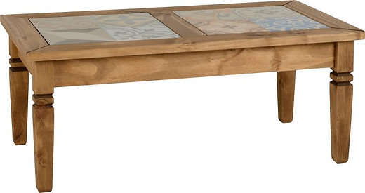 Salvador Tile Top Coffee Table In Distressed Waxed Pine