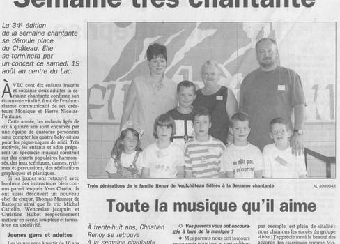 L'avenir - 19.08.2000 - Semaine très chantante