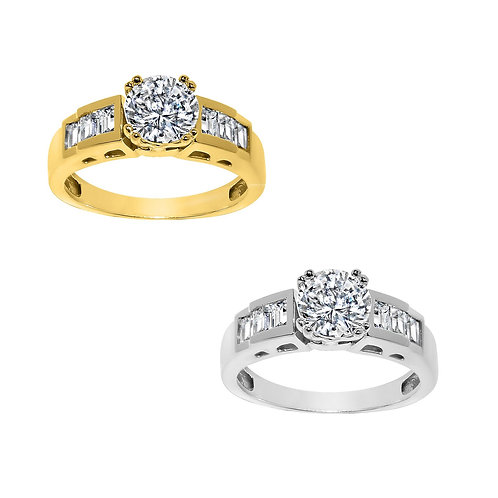 14k Yellow or White Gold 1 1/3ct TGW Round-cut Diamonette Engagement Ring