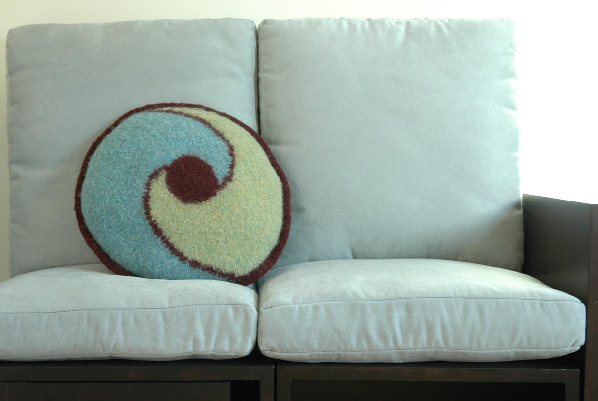 Aqua Swirl Knitted Pillow