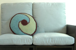 Aqua Swirl Knitted Pillow