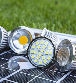 various GU10 LED bulbs on photovoltaics