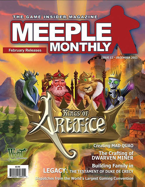 Meeple Monthly magazine cover Kings of Artifice board game Cantin Wyrd JonnyPac