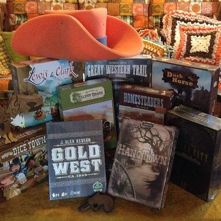 Top 10 Ten Western themed board games Rahdo JonnyPac Walnut Grove Gold West Carson City Homesteaders Dark Horse Great Western Trail Dice Town Lewis and Clark