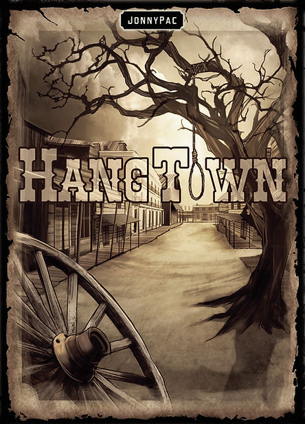 Hangtown Board Game Kickstarter JonnyPac Cantin box cover art