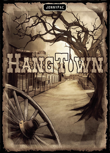 Hangtown Board Game Kickstarter JonnyPac Cantin box cover art