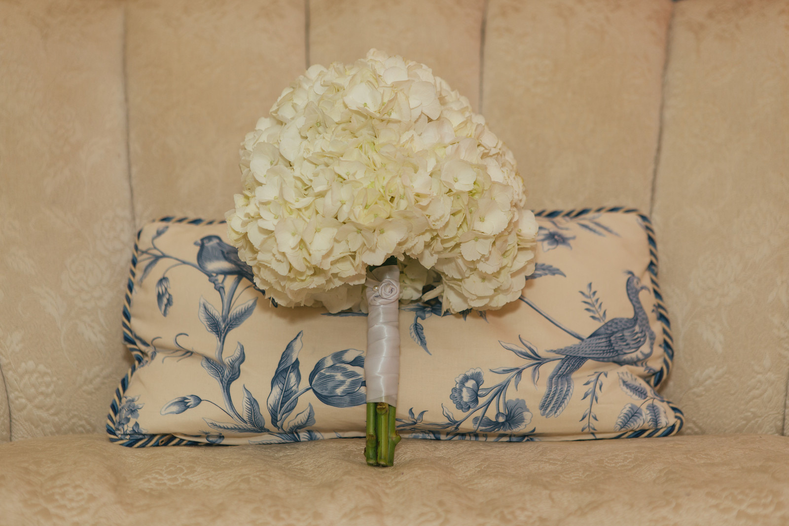 Amazing Bouquet Of White Hydrangeas Leans Against Blue Toile Pillow Machost Co Dining Chair Design Ideas Machostcouk