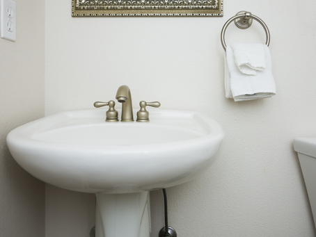 Refresh Your Pedestal Sink With a Colorful Skirt