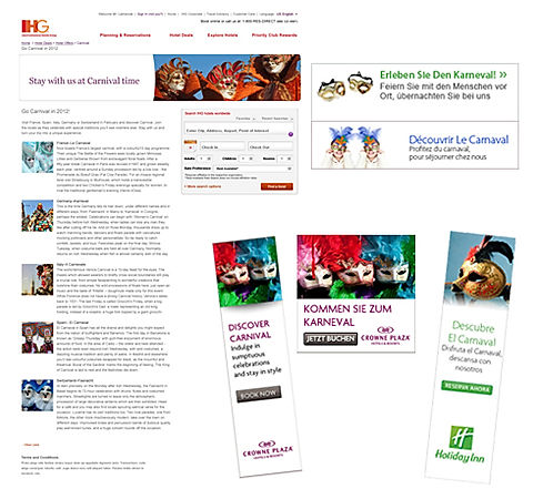 Carnival Online Marketing Campaign for Hotels and B&B - Surrey Digital Marketing Communications Agency Montanez & Co.