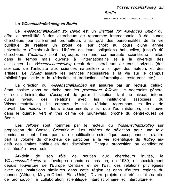 Traduction du Wissenschaftskolleg zu Berlin - Institute for Advanced Study