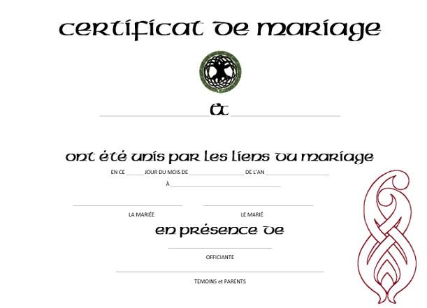 Cérémonie Celtique - Certificat de mariage - Céline Larigaldie Officiante de cérémonie laïque