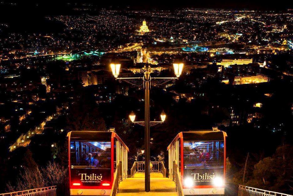 Funicular Night View Tbilisi