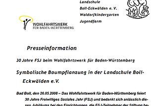30 Jahre FSJ beim Wohlfahrtswerk für Baden-Württemberg