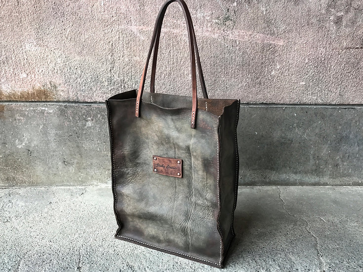 Decayed leather tote bag [RG]