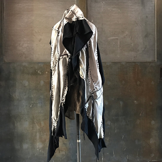 Mixture leather gypsy stole (dusty white)