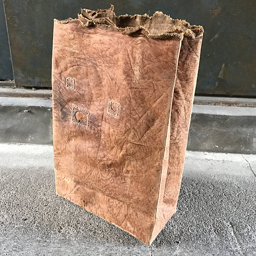 Junk leather paper clutch bag
